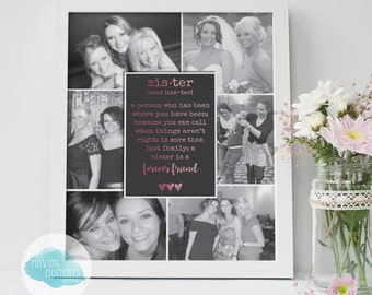 DIGITAL PHOTOGRAPHS REQUIRED - Personalised 'Sister' Quote Collage