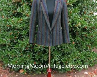 RAINBOW WOOL BLAZER, Vintage 70s, herringbone striped dark colors mixed w/ black, 100% wool Jacket, single button, Boho Mod, annie hall, s/m