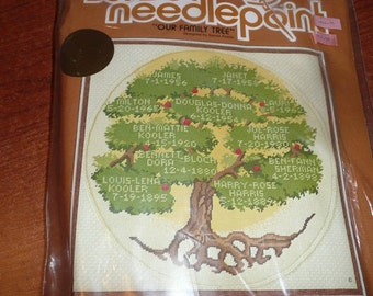 Vintage 1980 Sunset Stitchery Neeplepoint Our Family Tree Kit
