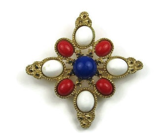 Sarah Coventry Patriotic Brooch in Red White and Blue