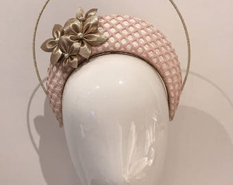 Ivory, Blush Pink and Gold Halo Crown Headband