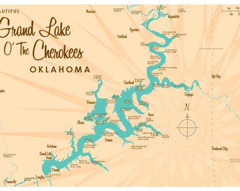 Lake Cherokee Map Etsy - Oklahoma lake map