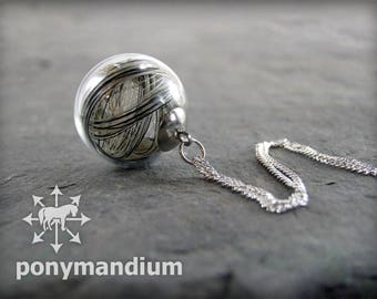 CUSTOM glass sphere horse hair pendant, unique personal pet hair preservation keepsake in beautiful glass ball, FREE UK postage