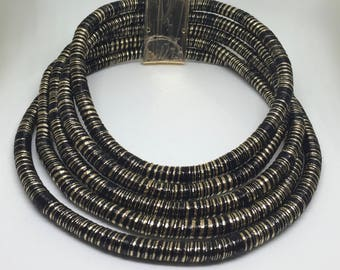 Black and Gold Coiled Wire Wrapped Tribal African Necklace, Collar, Statement Choker, Neck Rings, ethnic african