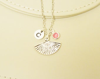 Chinese fan necklace, Japanese fan charm, Hand fan charm, Fashion necklace, Charm necklace , Initial necklace, Engraved necklace, bohemian