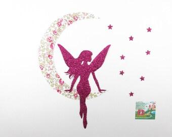 Appliqués thermocollants Fée lune étoiles tissu liberty Eloïse rose flex pailleté appliques liberty thermocollant écusson patch à repasser