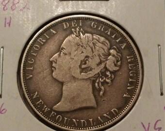 1882-H Newfoundland 50 Cents Coin VG+