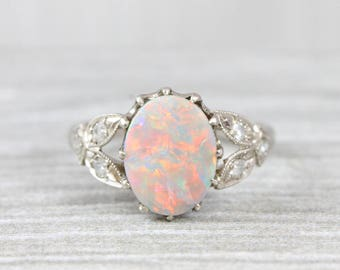 Pastel Opal and Diamond antique inspired handmade engagement ring in 18 white carat gold for her UK
