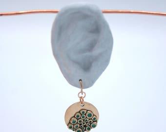 "Bronze and turquoise earrings ""alveolate"""