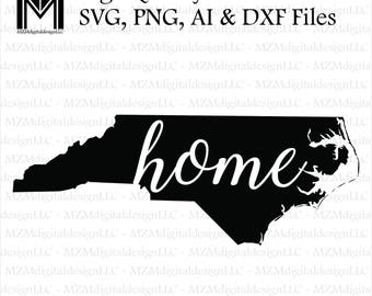 North Carolina svg, png, ai and dxf Files -For Commercial & Personal Use- SVG for Cricut Silhouette and Cameo - Vinyl file - NC Home State