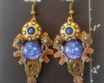 Galaxy & Gears Steampunk Inspired Earrings
