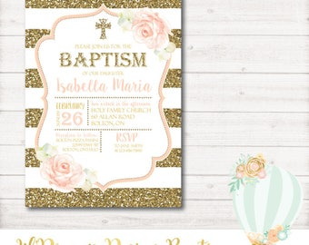Baptism Invitation, Christening, Communion, Religious, PInk, Gold, Glitter, Watercolor, Flowers, Baby, Printable, Digital, PDF, JPEG, Photo