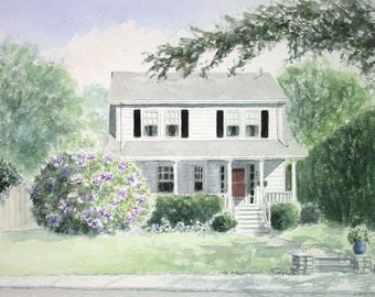 Home Watercolor Portrait, House Painting from Photo, Custom House Painting, Gift for Clients, First Home Gift, Gift for Parents