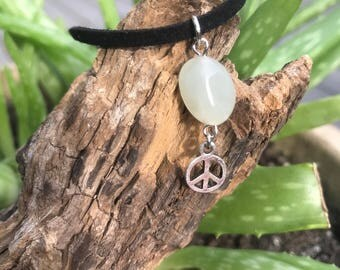 Aquamarine Crystal Bead with Silver Peace Sign Charm on Adjustable Vegan Suede Choker Necklace
