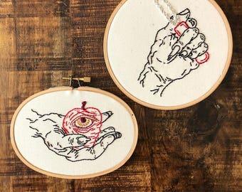 Betty Baker Embroidery Hoop Art, All Seeing Eye, Dark Art, Creepy Art, Contemporary Embroidery Art, Modern Embroidery