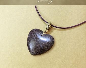 Gemstone Lepidolite pendant necklace, Purple Lepidolite pendant, Heart pendant, Genuine Leather necklace, Crown Chakra, InfinityCraftArts