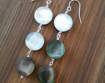 Faceted Black Mother of Pearl Dangle Earrings