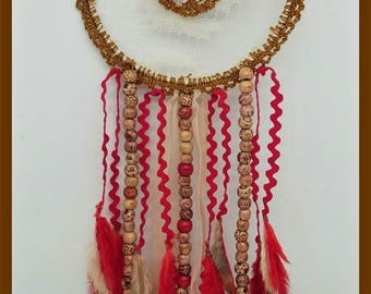 "Dream catcher or dream catcher ""ethnic"" lace, feathers and pearls"