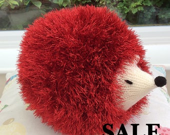 Sale, Knitted wool Tinsel Hedgehog, knitted soft toys, soft plushie toy, cute hedgehog, knitted animals, wool animals, tinsel yarn