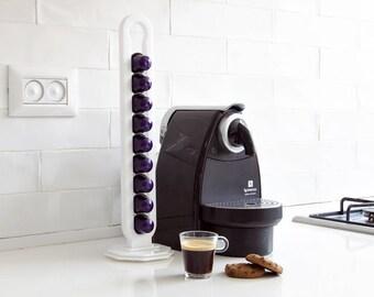 White Nespresso Capsules Holder, Rotate Coffee Storage, Counter Top Stand, Coffee Pod Rack, Kitchen Organizer, Coffee Lover Gift Home Decor