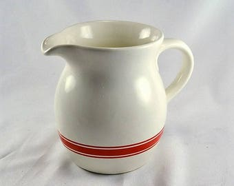 Pottery Pitcher - White w/ Red Band --Vintage  Farmhouse Beverage Pitcher - French Country Milk Pitcher