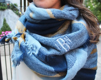 Monogrammed Blanket Scarf - Blue & Gold Game Day