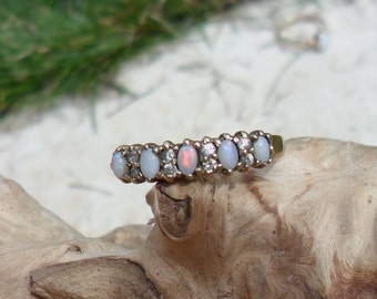 9ct Gold, Opal and Cubic Zirconia Half Eternity Ring