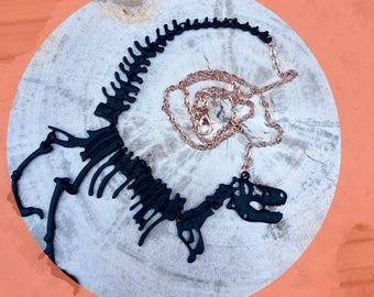 Jurassic world, T-rex necklace, dinosaur necklace, statement necklace, jurassic park, fossil, black, rose gold chain