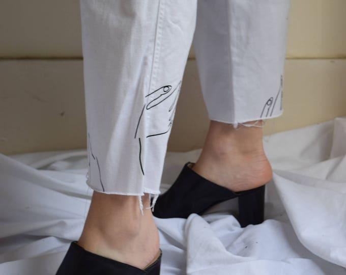 Paloma White Denim Wide Leg Pant with High Waist
