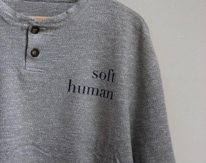 Soft Human Heather Grey Henley Tee.