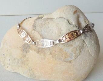 Vintage Sterling Silver Sun Moon and Star Bracelet Silver and Copper Bracelet, Solar Pattern Bracelet, Sun Link Charms, Happy Sun Jewelry