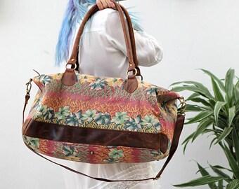 Floral Quilt Leather Bag, Boho Weekender Bag, Large Shoulder Bag, Large Handbag, Crossbody Bag, Womens Bags