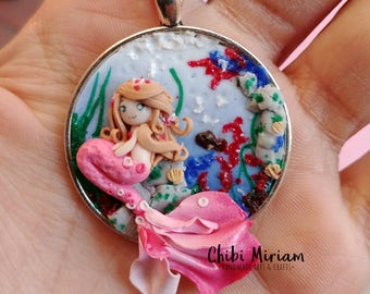 Mermaid fimo cameo necklace
