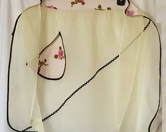 Vintage Yellow Organdy Hostess Apron
