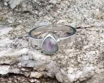 Watermelon tourmaline 925 sterling silver ring