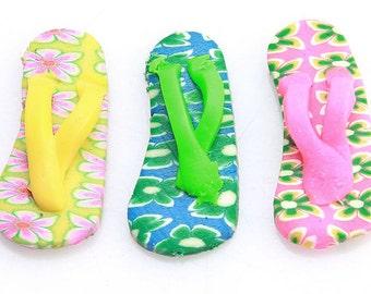 Polymer Clay Flip Flop Charms, Polymer Clay Flip Flop Beads, Polymer Clay Flip Flops, Clay Flip Flop Charms, Mini Flip Flop Charm Beads