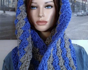 Wool Infinity Scarf, Chunky Hooded Cowl Scarf Hoodie, Snood, Guy Scarf, XXL Scarf Thick Wool Blend Winter Blue Grey Gray Scarf READY To SHIP