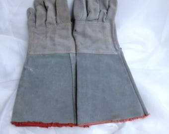 Extra Long Welders Gloves Motorcycle Gloves Dog Training Gloves, Thick Suede/Leather Heavy Stitching, Not Pretty but Pretty Useful Gloves :)