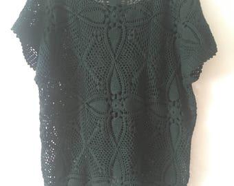 Hand Crocheted Mini Dress Tunic / Beach Coverup in Dark Green