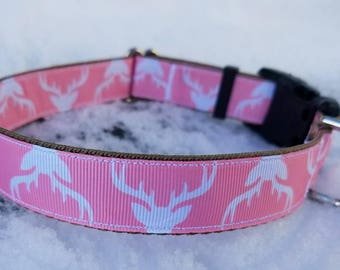 Pink Deer dog collar