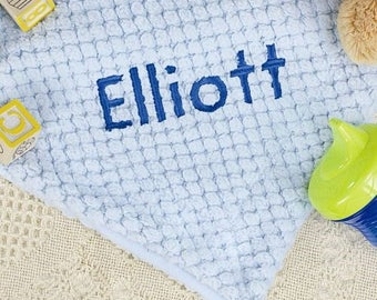 Embroidered Fleece Baby Blanket, Embroidered Name Blue Baby Blanket, Personalized Blue Baby Blanket