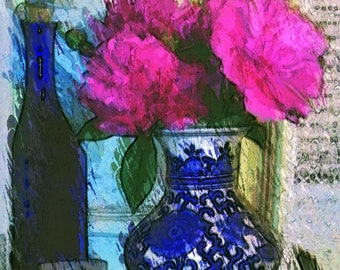 Blue & white oriental vase with peonies instant art print, Hot pink flowers in Chinoserie still life pic, Ginger jar floral photo download