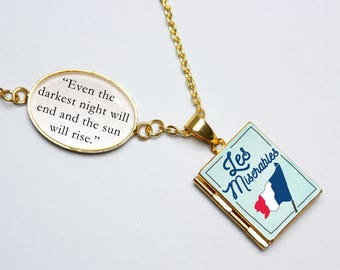 Les Miserables Book Quote and Locket Charm. Even The Darkest Night Will End Book Locket. Les Mis Necklace. Literary Gift. Locket Library