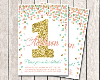 Coral Mint Pink And Gold Confetti Birthday Invitation First Birthday Invitation Girl Birthday Invitation Any Age Printable Invitations