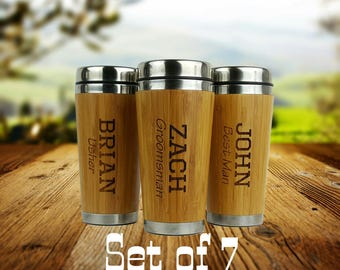 Set of 7 - Groomsmen Gift - Personalized - Stainless Steel Bamboo Coffee Tumbler - Best Man, Groomsman, Father of the Bride