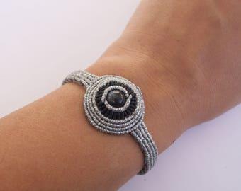 Silver & Black cuff bracelet - micro macrame bracelet, gipsy style, Christmas gift!!