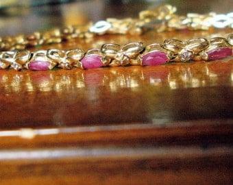 SALE###Genuine rubies and diamonds solid 10k yellow gold tennis bracelet
