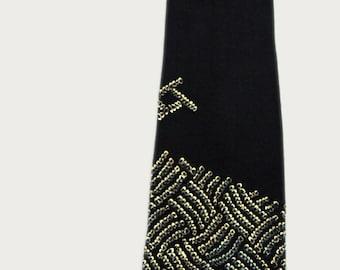 Vintage handmade silk shibori necktie, made out of an antique silk Japanese shibori kimono.