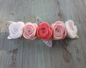 Fresh Peach Felt Flower Crown