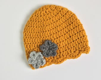 Gold Beanie with Flowers, Ready to Ship, Crochet Hat, Baby Girl Hat, Newborn Crochet Beanie, Flower Beanie, Baby Shower Gift Girl